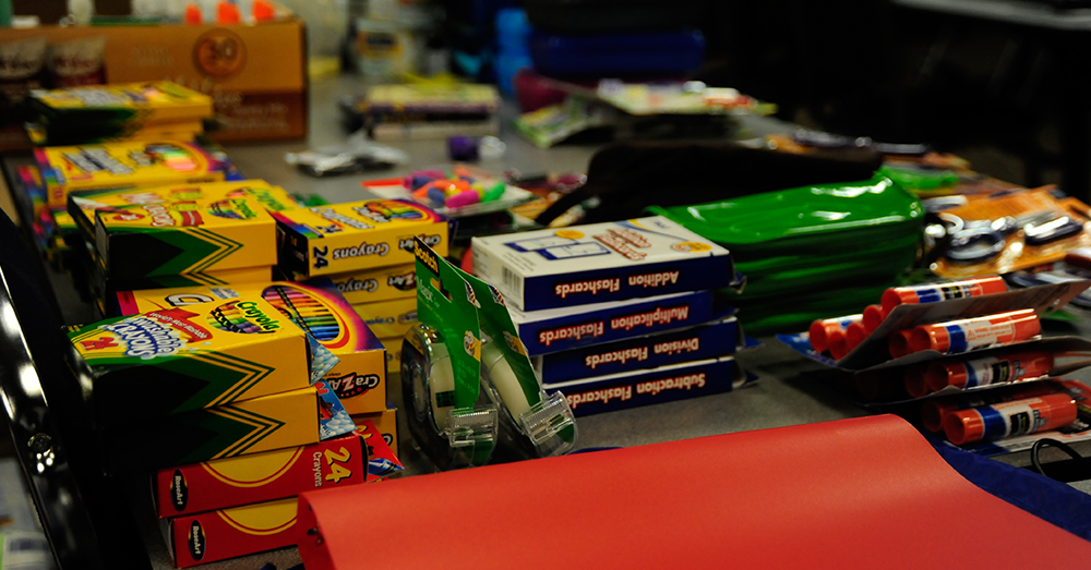 Photo: U.S. Air Force/Airman Naomi M. Griego -- School supplies collected at the 505th Command and Control Wing.
