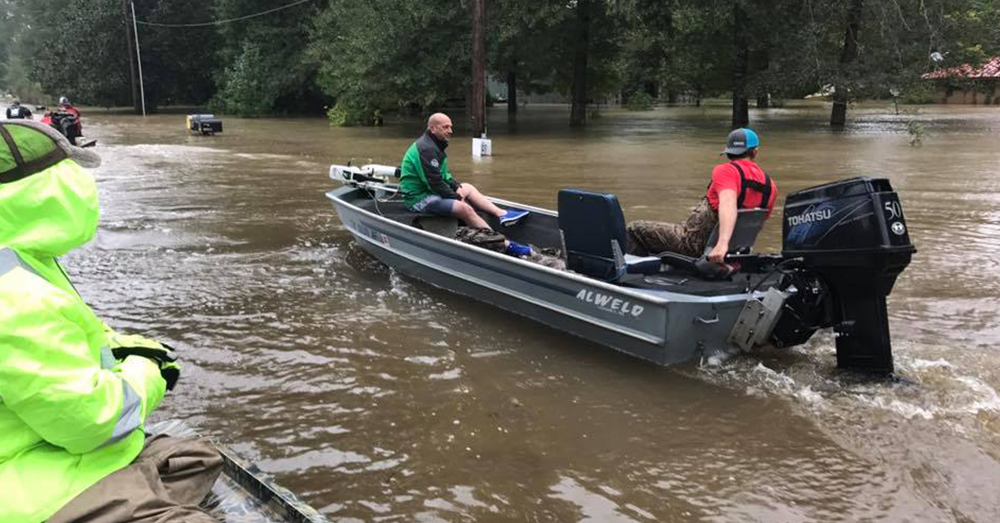 Photo: Facebook/Louisiana Cajun Navy -- The Cajun Navy volunteers brought boats, water, food and supplies to help those in Texas.