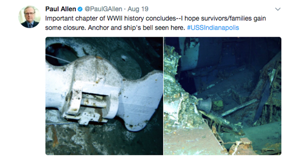Photo: Twitter/@PaulGAllen -- The first underwater images of the USS Indianapolis show the ship's anchor and bell.