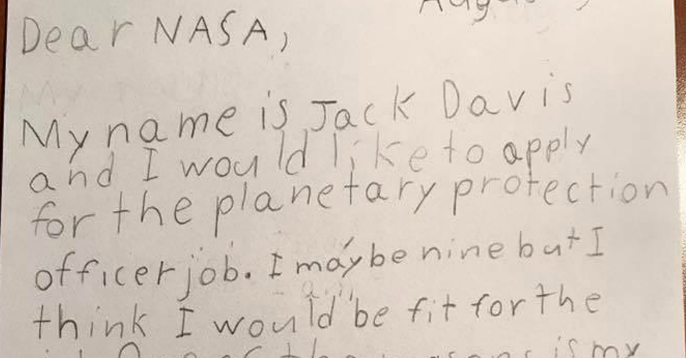Photo: NASA -- Nine-year-old Jack Davis wrote to NASA about why he should be the next Planetary Protection Officer.