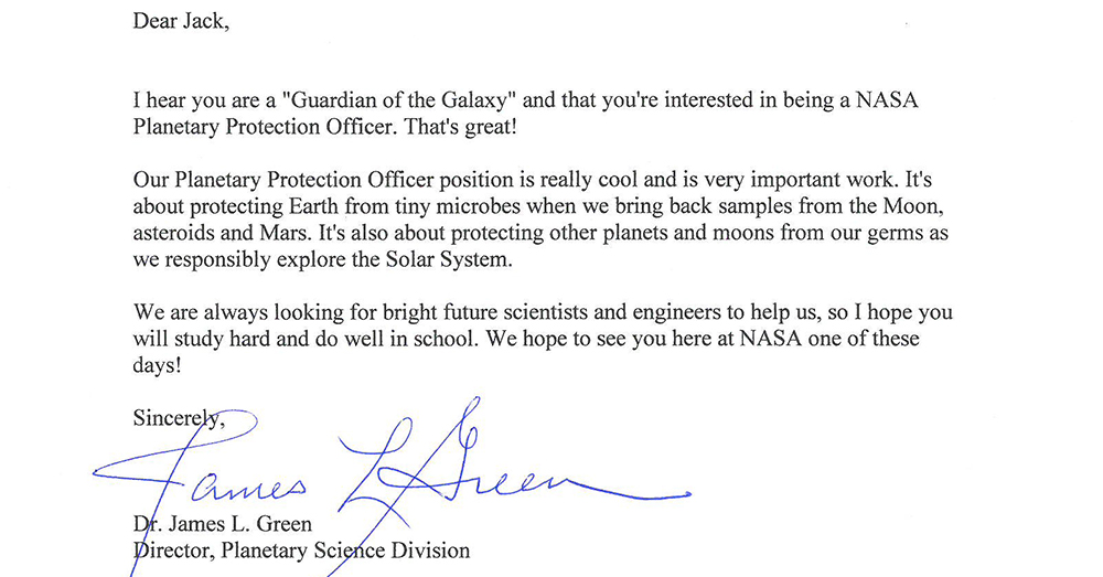 Photo: NASA -- Jim Green, Director of NASA's Planetary Science Division, wrote a letter in response to the unusual application.