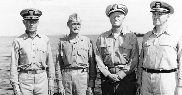 Source: Wikimedia Commons Admirals Raymond A. Spruance, Marc Mitscher, Chester W. Nimitz and Willis Lee on board USS Indianapolis