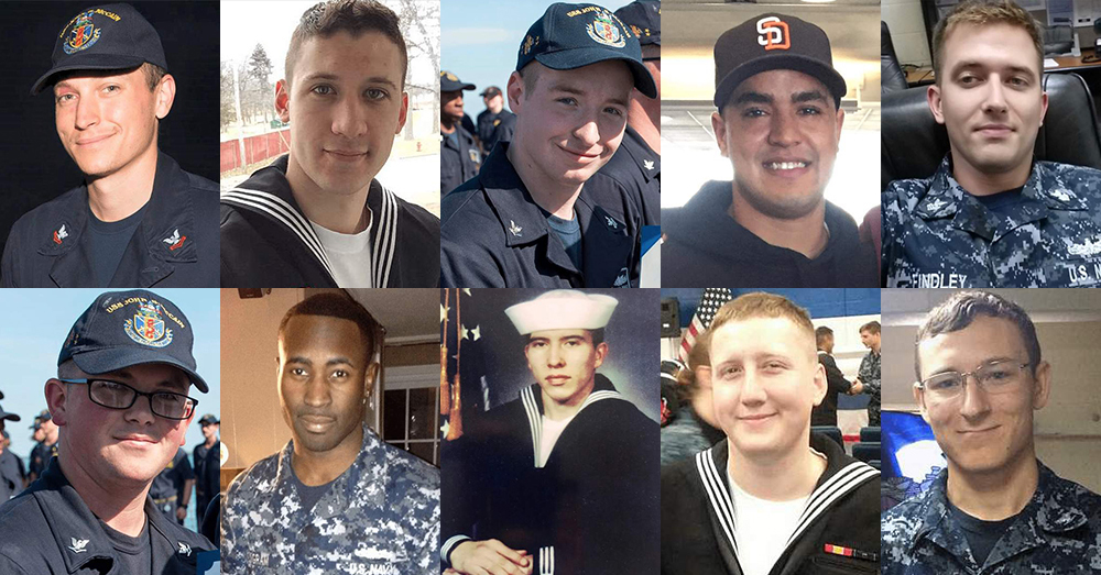 Photos: U.S. Navy -- The 10 missing sailors from the USS John S. McCain.