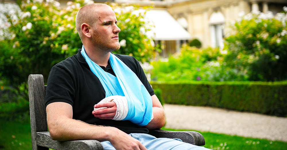 Photo: U.S. Air Force/Tech. Sgt. Ryan Crane -- Airman 1st Class Spencer Stone recovers after being stabbed and almost losing a thumb stopping a terrorist in 2015.