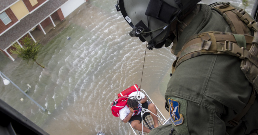 Photo: U.S. Air Force/Tech. Sgt. Zachary Wolf -- The 347th Rescue Group from Moody Air Force Base perform special rescue missions in the Houston area.