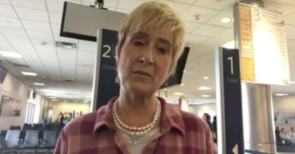 Photo: Facebook/Pamela Dee Gaudry -- Screenshot from the emotional video following the Delta flight incident.