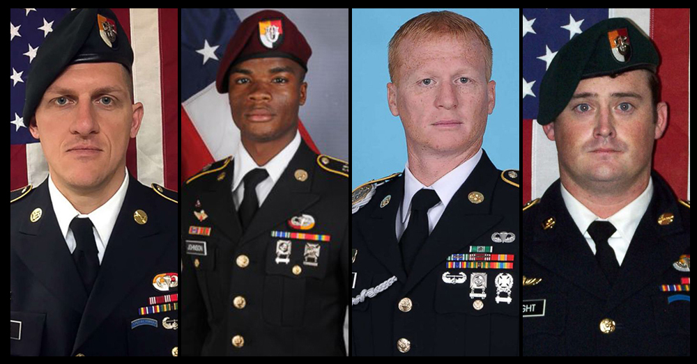 Photos: U.S. Army -- Green Berets (left to right) Staff Sgt. Bryan C. Black, Sgt. La David T. Johnson, Staff Sgt. Jeremiah W. Johnson, and Staff Sgt. Dustin M. Wright.