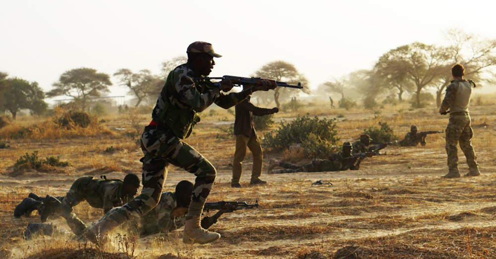 Photo: U.S. Army/Spc. Zayid Ballesteros -- Nigerien service members pictured during a training exercise with U.S. troops.