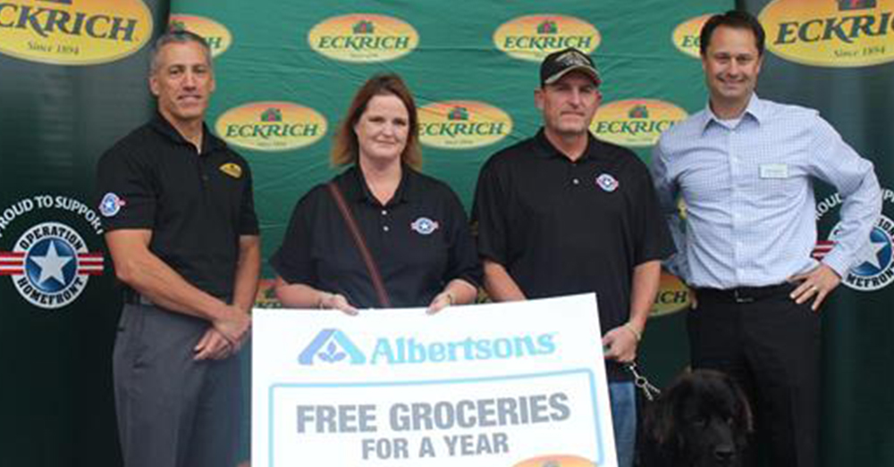 Photo: Smithfield Foods -- Eckrich, Albertsons & Operation Homefront partnered to give this military family a year of free groceries.