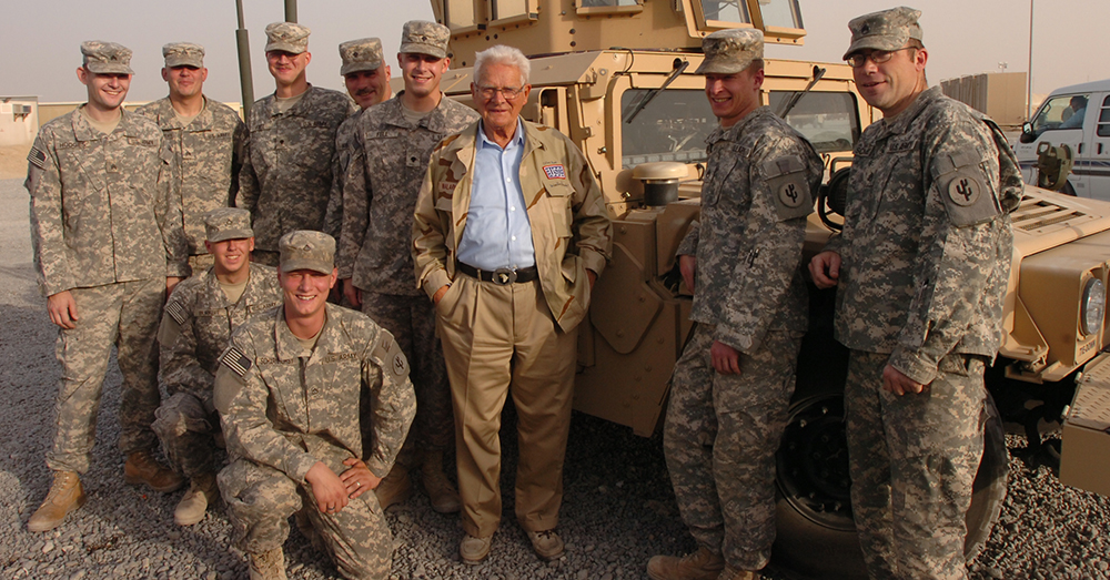 Photo: U.S. Army/Major Carol McClelland -- Donald Malarkey, pictured in 2008, visits with Iraq War troops in Kuwait.