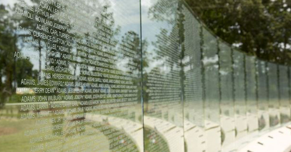 Source: U.S. Marines Glass walls at the Vietnam Veterans Memorial at Lejeune Memorial Gardens in Jacksonville, N.C.