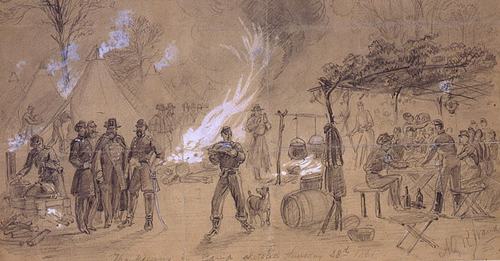 Image: Library of Congress/Alfred R. Waud -- A sketch from the Civil War shows Union troops celebrating Thanksgiving.