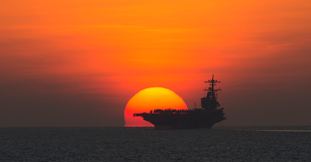 Photo: U.S. Navy/Mass Communication Specialist 2nd Class Abe McNatt -- The USS George H.W. Bush Carrier Strike Group returning to Naval Station Norfolk after supporting maritime security operations, strike operations in Iraq and Syria.