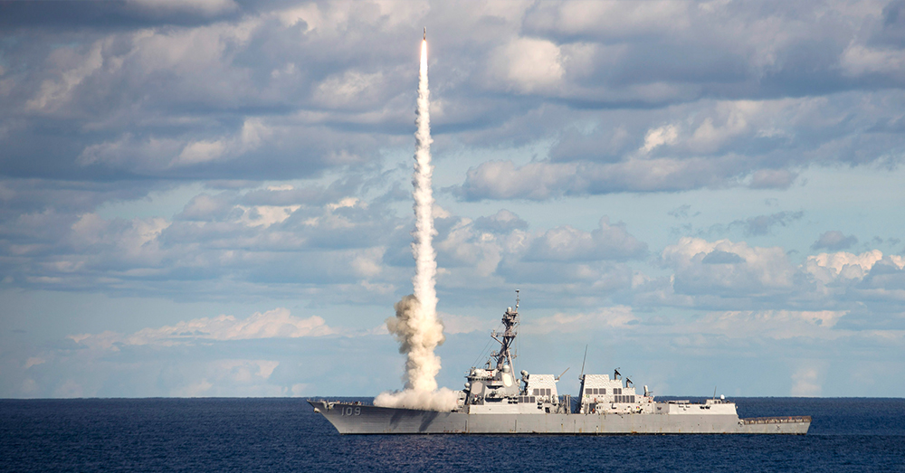 Photo: U.S. Navy/Mass Communication Specialist 3rd Zachary Van Nuys -- The guided-missile destroyer USS Jason Dunham (DDG 109) launches a SM-2 missile during a live-fire exercise.