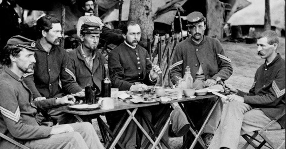 Photo: National Archives/We Are The Mighty -- On the first official Thanksgiving holiday in 1863 Union troops took a break from the fighting to enjoy an actual sit-down dinner.