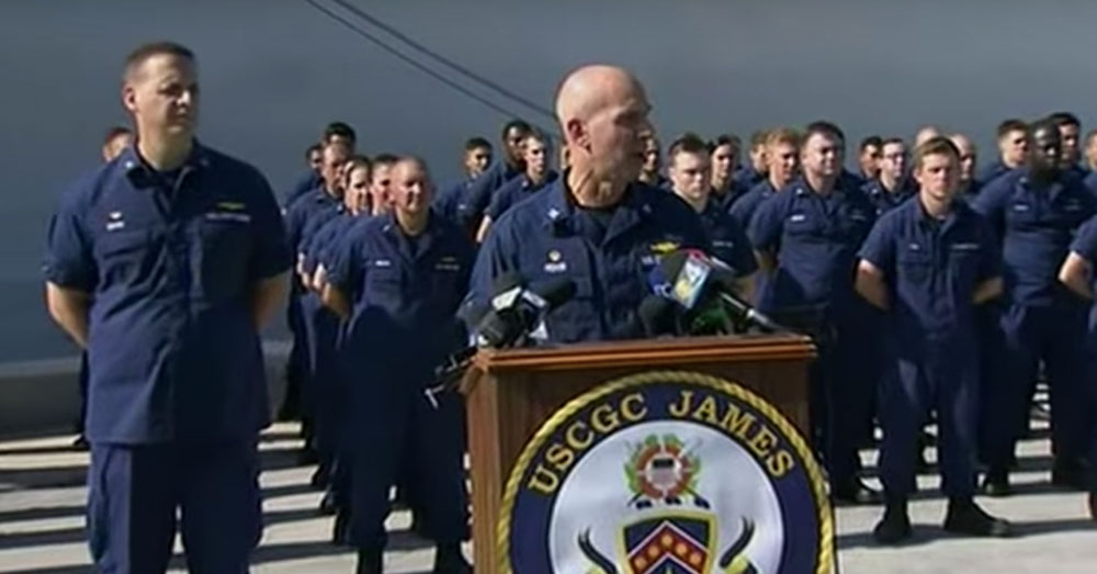 Source: YouTube/Associated Press Coast Guard Cutter James Commanding Officer Mark Fedor