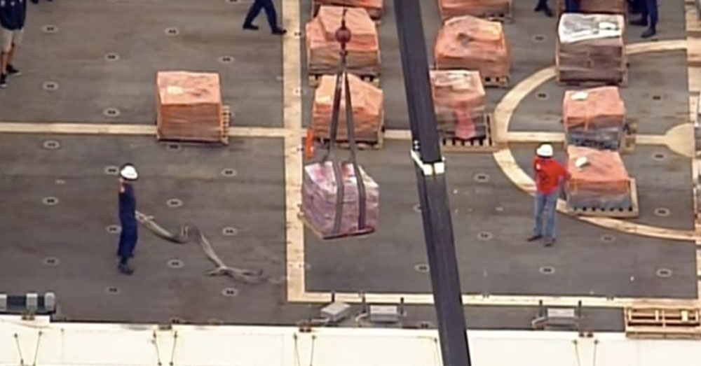 Source: YouTube/Associated Press Confiscated lots of cocaine on board the Coast Guard Cutter James.