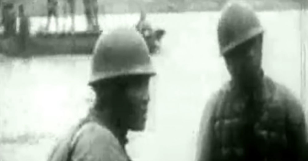 Source: YouTube/Josh Griffiths Japanese soldiers patrol the waters around the island.