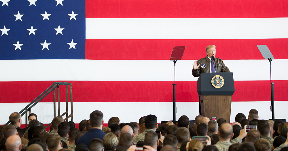 Photo: White House/Andrea Hanks -- President Donald J. Trump delivers remarks at Yokota Air Base.