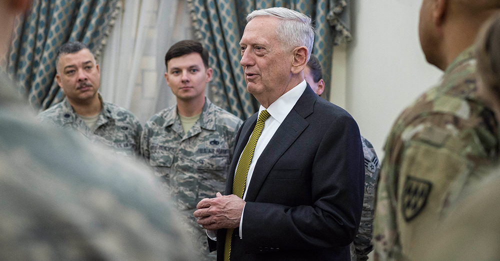 Photo: DoD/Air Force Tech. Sgt. Brigitte N. Brantley -- Defense Secretary Jim Mattis meets with troops stationed at Al Udeid Air Base, Qatar.