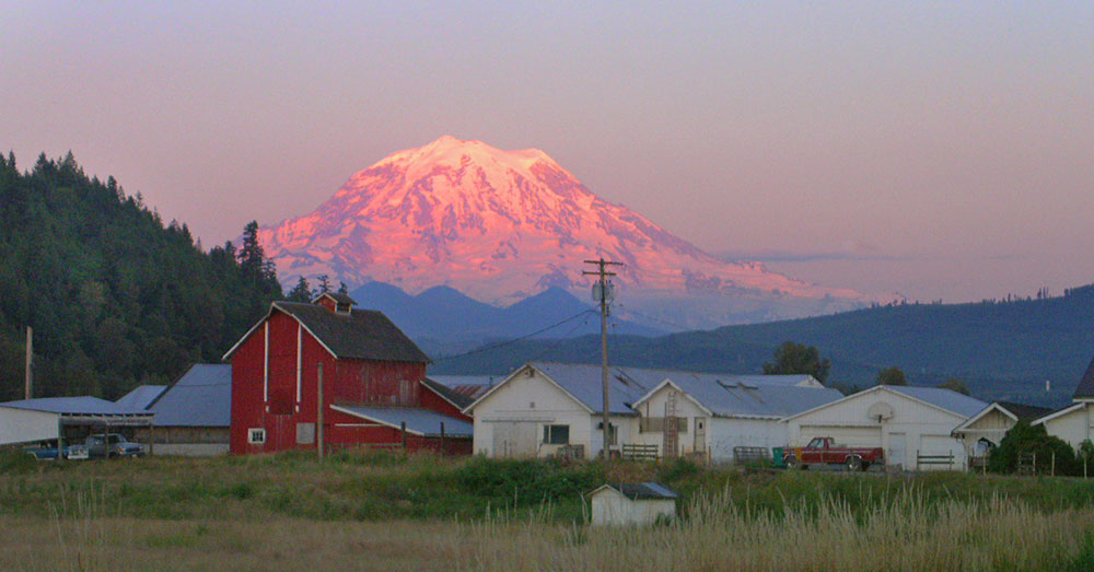 Last light on Mt. Rainier, seen from Orting, Washington.