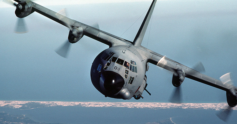 Source: Wikimedia Commons A C-130 gunship banks for a turn.