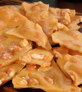 A mound of peanut brittle