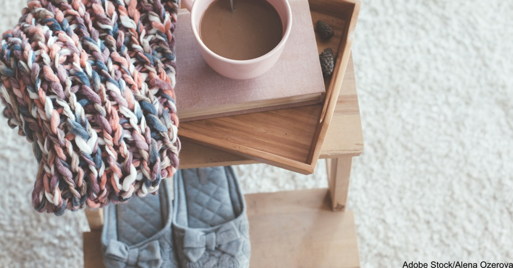 Knitting and coffee on a tray