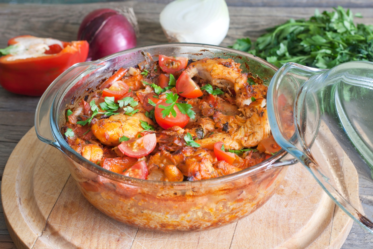 Casserole of chicken in an ovenproof dish