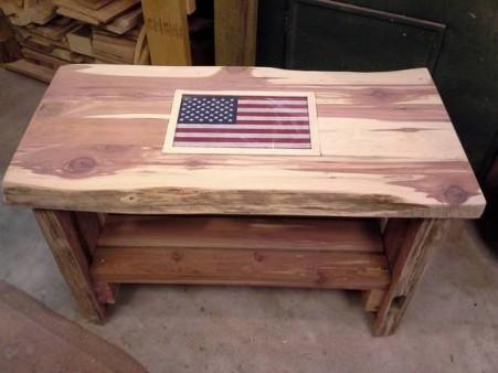 All American cedar with American flag