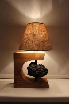 A lamp with piece of lava.