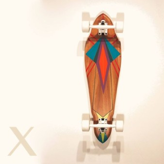 Salvaged American Sycamore 31 longboard with artwork by Liz Mares