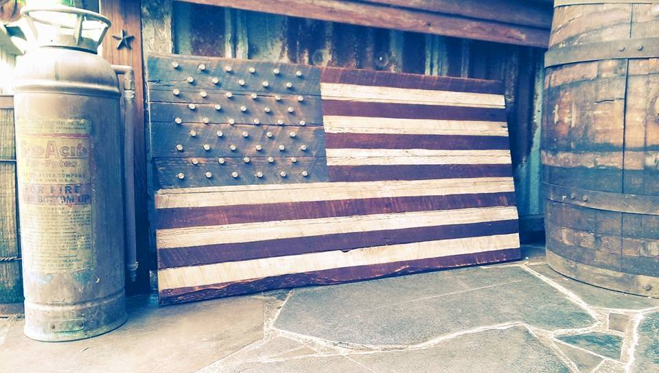 In honor of Independence Day I thought I would share one of my .45 Barn Wood Flags I make at Blue Ribbon Hardwoods. They are built to proper proportions, stained, and drilled for .45 auto shells as the stars.
