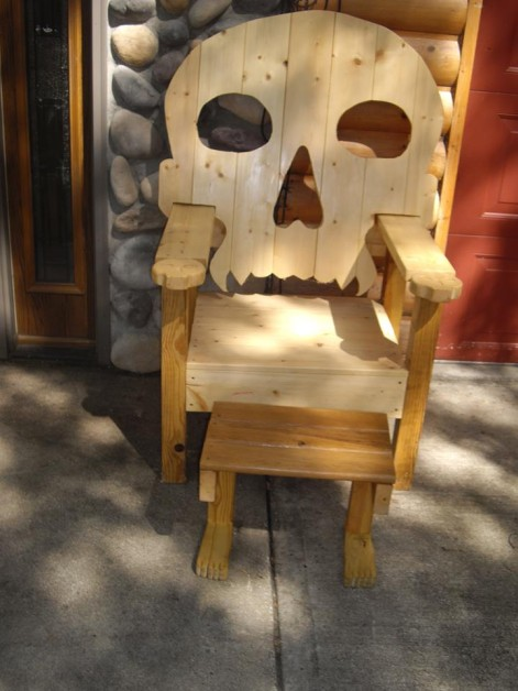 skull chair and foot stool