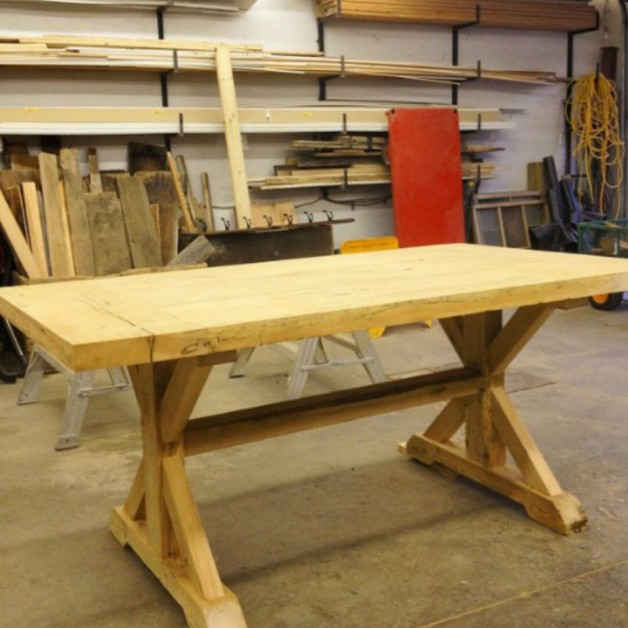 I'm a woodworker from ontario. Im part owner of Donnellyrustics, our custom reclaimed wood furniture business. We build this table and would love if you could post it. It's made from first leaf cedar, and spruce. We used mortise and tenons to join everything together.
