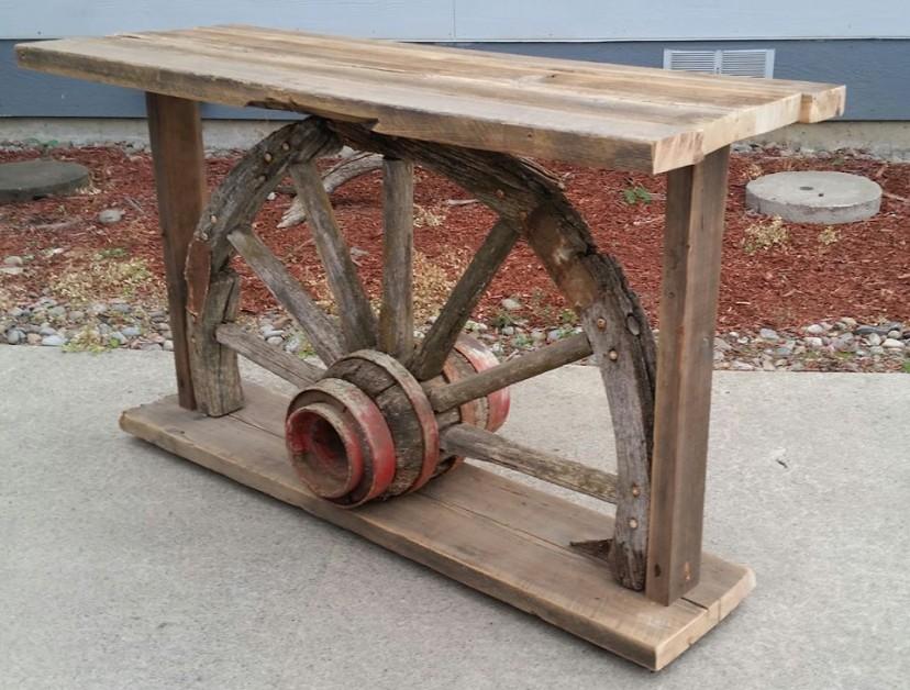 Reclaimed barn wood and wagon wheel sofa table / TV stand