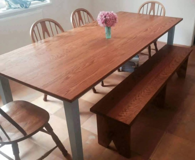 Solid Oak Farm Table and Bench set.