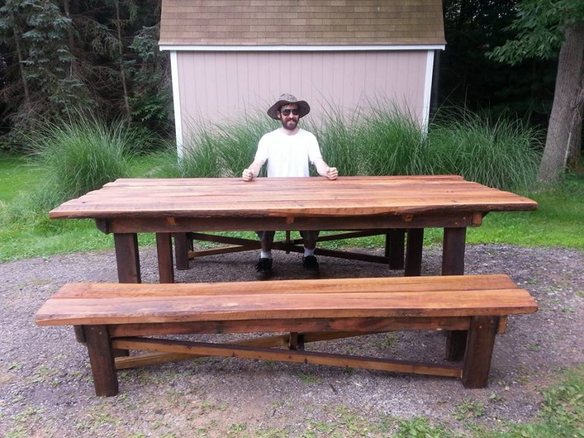 Oak and beech barnwood table and benches I built