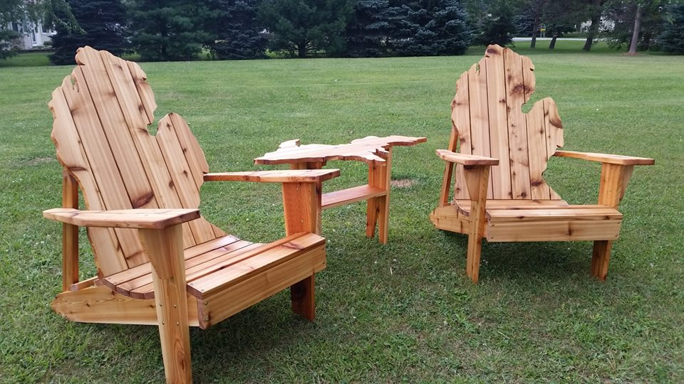 Michigan Cedar Adirondack Chairs w/ U.P. side table
