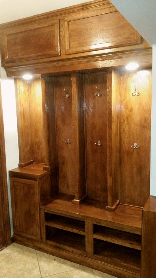 From Clint Turnquist: Custom oak entryway, with maple finish.