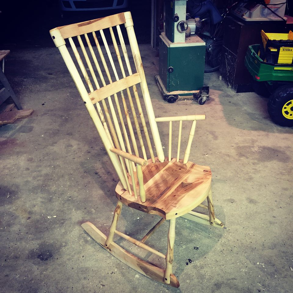 From Jon Jackson‎: My first chair. Maple with walnut details.
