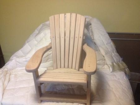 my grand daughter came into our world yesterday. This is the chair I made for her. Red oak. The chair is 20 inches tall. I have made one for each of my 7 grandkids.