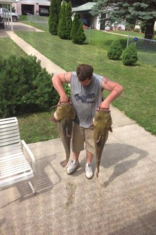 From Shelby Ruths: A 43 and a 33 pound flatheads. Caught on blue gill and rod and reel.
