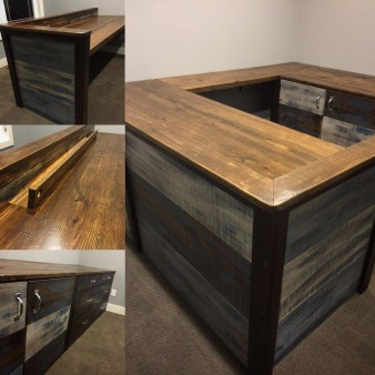 From Aaric Geihl: Here's an office project I did. The customer wanted a hint of weathered blue to coordinate with is grey color scheme. He was super happy with the flip open cable tray I made to hide his wires. Made completely with rough sawn doug fir.