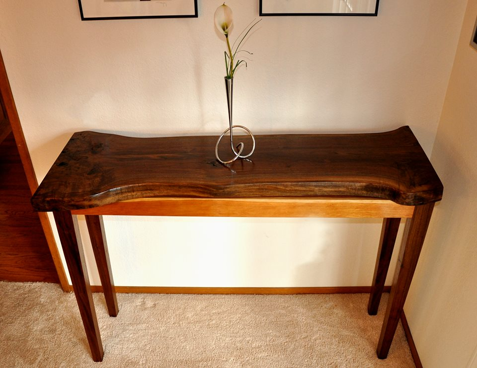 From Alex Morrison: A live edge walnut and cherry table I built for a furniture design competition.
