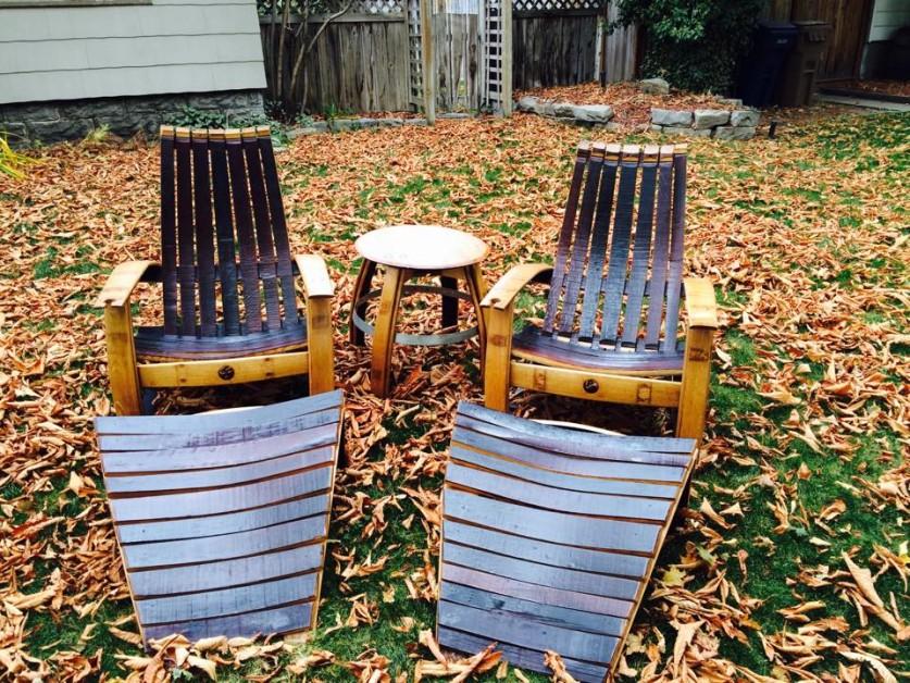 From Cody Severson: Wine barrel Adirondack set I built
