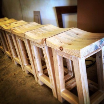 From David St-John Brand: Stools I'm busy with. Next step is to spray them.