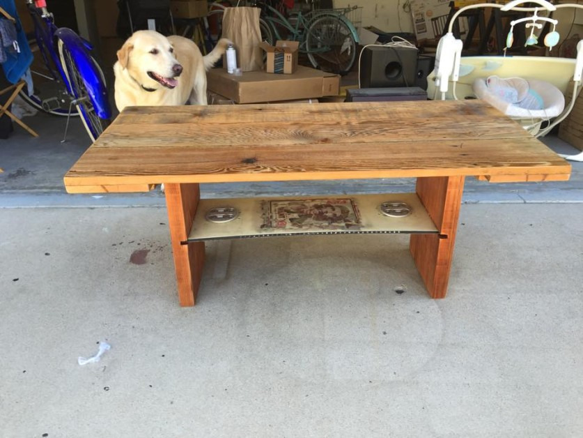 From Jeramiah Townsend: Here is a coffee table I made from all salvaged fence and construction scrap wood. The shelf is my old k2 snowboard that I cut the ends off of.