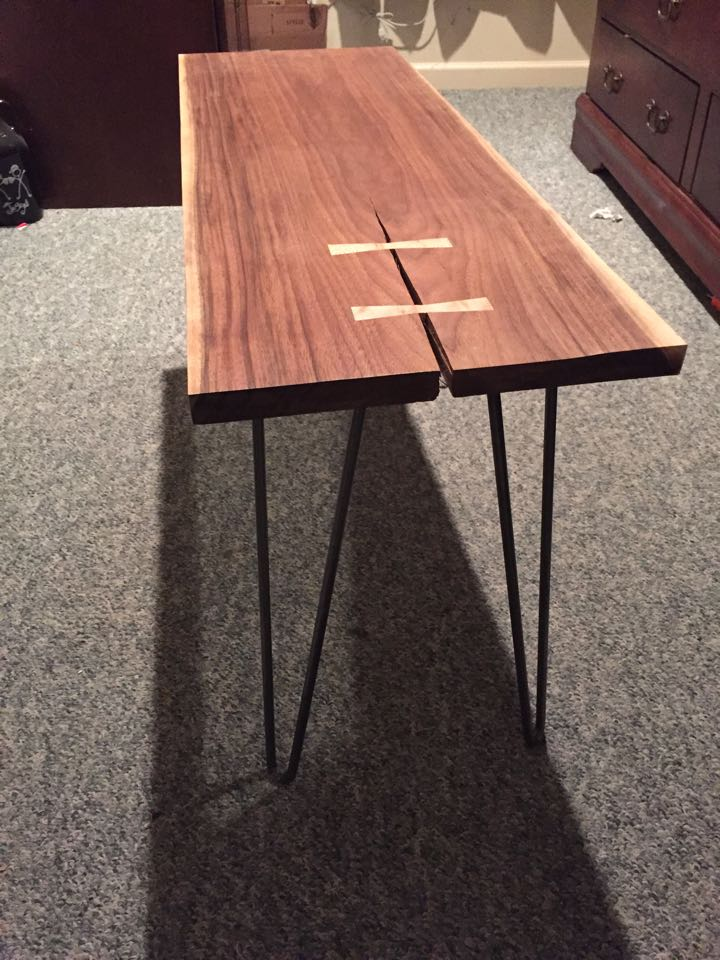 From Nick Gillespie: Walnut coffee table with Birdseye maple bow ties and hair pin legs