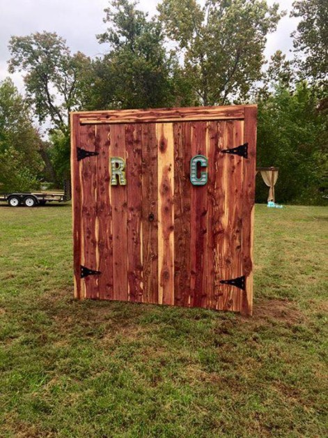 From Preston Spicer: Entry way I built for my buddy's wedding ended up being 8ft by 7ft wide, all out of cedar from the local Amish Sawmill!